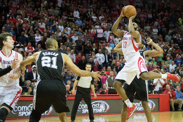 Rockets shooting guard James Harden hits a jumper with 4.5 seconds left in the game for the game-winner in a 96-96 victory over the Spurs. Photo: Smiley N. Pool, Houston Chronicle / © 2013  Houston Chronicle