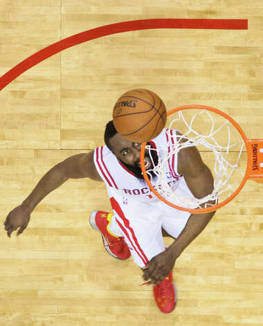 Rockets shooting guard James Harden watches his shot go into the net. Photo: Smiley N. Pool, Houston Chronicle / © 2013  Houston Chronicle