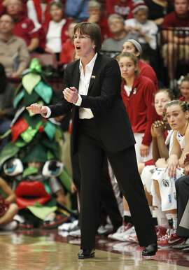 Stanford head coach Tara VanDerveer reacts to a referee's call during the first half of   her first round game of the NCAA Division 1 Women's Basketball Championship on Saturday, March 24, 2013 in Stanford, Calif.