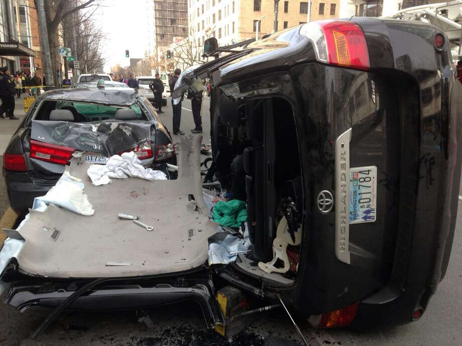 This crash near Fourth Avenue and Virginia Street closed traffic in parts of traffic Sunday afternoon in downtown Seattle.
