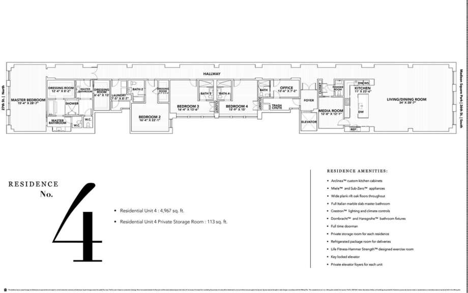 Floorplan of the 4th floor penthouse