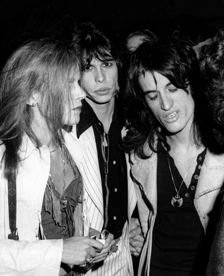 "Steven Tyler and Joe Perry attend the party for Aerosmith ""Rocks"" on May 10, 1978 at RCA Promenade in New York City. Photo: Ron Galella, Getty Images / 1976 Ron Galella"