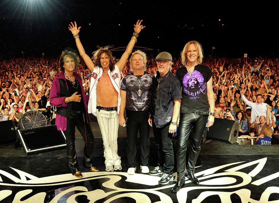 Joe Perry, Steven Tyler, Joey Kramer, Brad Whitford and Tom Hamilton of Aerosmith perform at Fenway Park on August 14, 2010 in Boston. Photo: Kevin Mazur, Getty Images / 2010 Kevin Mazur