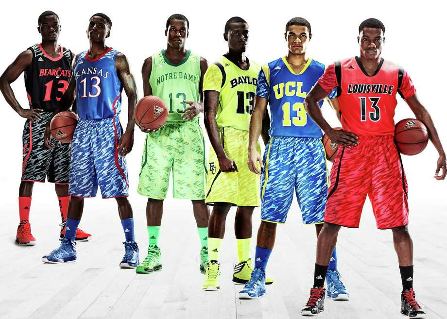 This photo illustration released by Adidas shows the uniforms for NCAA basketball teams, from left, University of Cincinnati, University of Kansas, University of Notre Dame, Baylor University, UCLA and the University of Louisville. Photo: Adidas