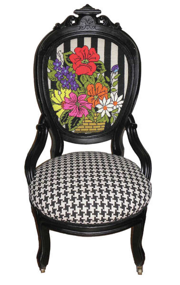 Tavi Chair: vintage parlor chair with vintage needlepoint back, $680