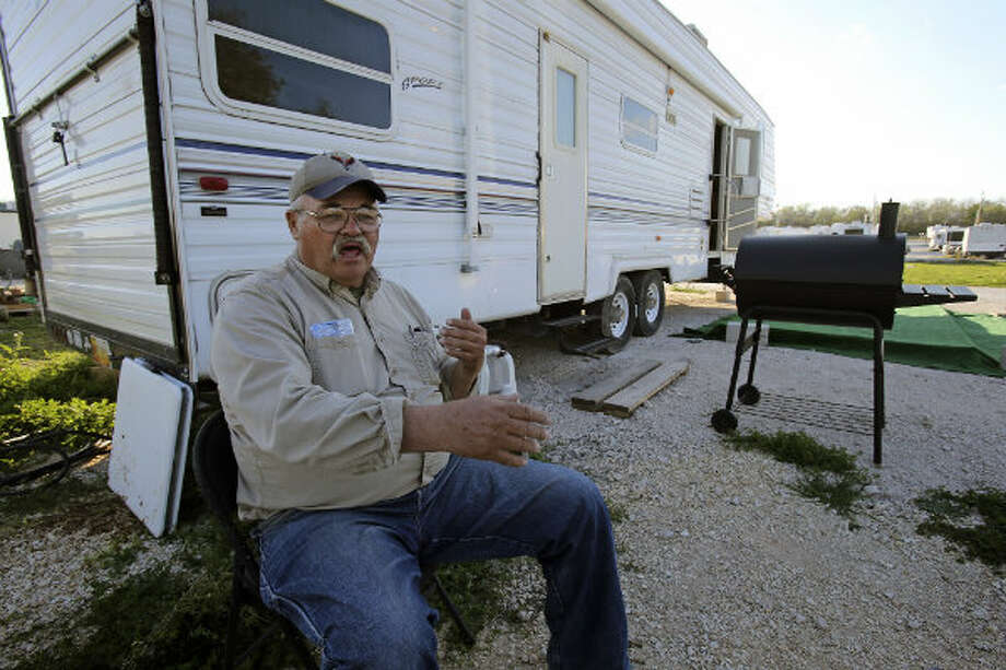 Joe Golding talks about his living circumstances at Lonesome Creek RV Resort near Kenedy, Texas.