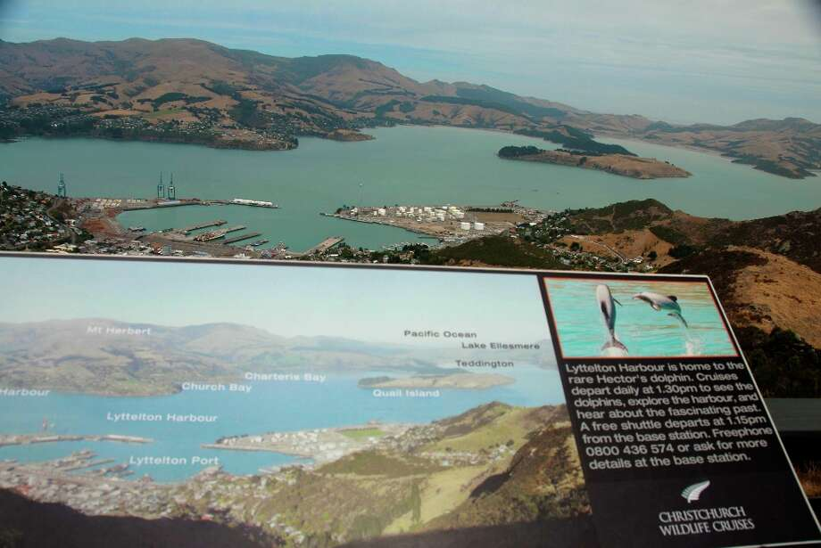 Interpretive signs at the Port Hills summit, reached by the Christchurch Gondola or a steep hike, note landmarks in the panoramic vistas.