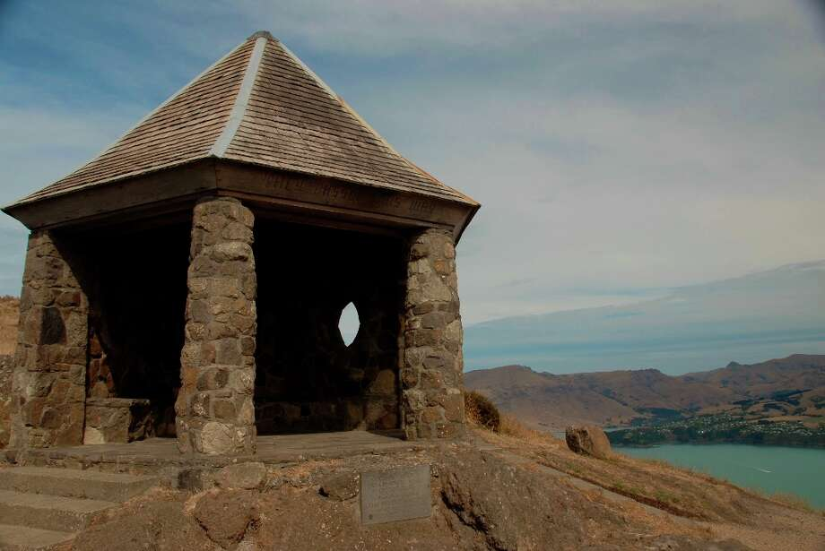 The Bridle Path Monument in the Port Hills near the Christchurch Gondola honors the European pioneer women who crossed trails in the rugged area.