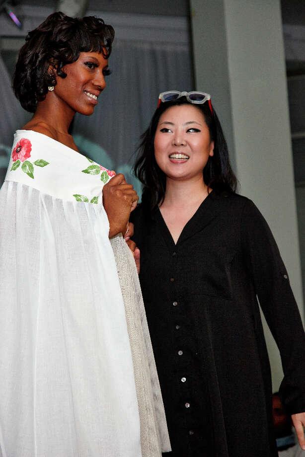 Designer Bora Han and model. Photo: Photographer: Gerald Franks / Copyright: Gerald Franks Photography