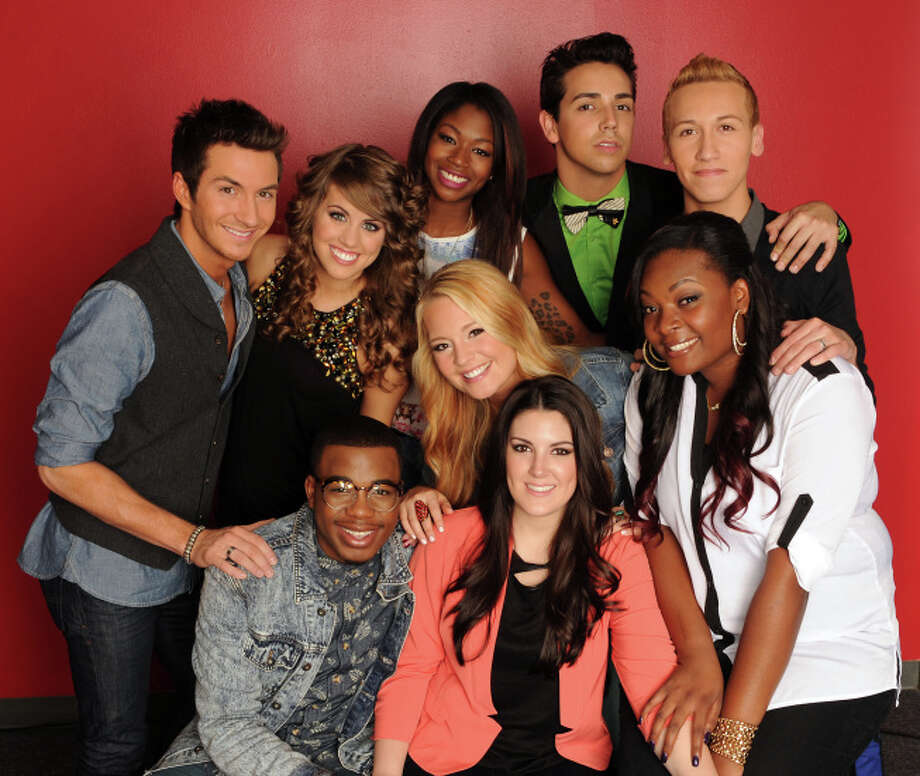 AMERICAN IDOL: TOP 9: Clockwise from left: Paul Jolley, Angie Miller, Amber Holcomb, Lazaro Arbos, Devin Velez, Candice Glover, Kree Harrison, Janelle Arthur and Burnell Taylor.  CR: Frank Micelotta. Copyright: FOX.