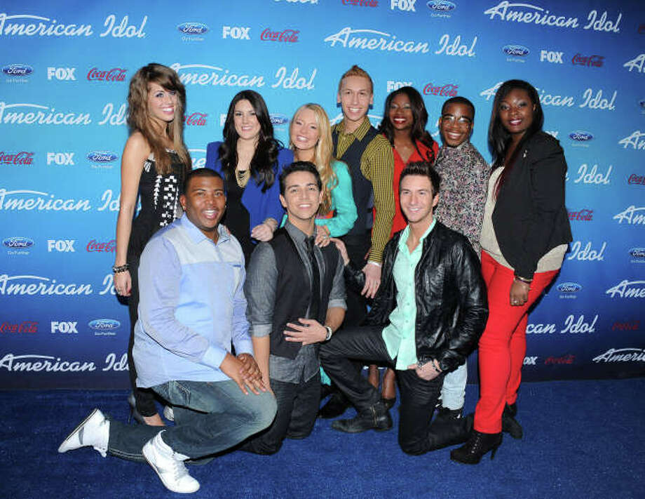 AMERICAN IDOL: (Top Row L-R) The Top Ten finalists Angie Miller, Kree Harrison, Janelle Arthur, Devin Velez, Amber Holcomb, Burnell Taylor and Candice Glover, and (Bottom Row L-R) Curtis Finch, Jr., Lazaro Arbos and Paul Jolley arrive on the blue carpet at the season 12 AMERICAN IDOL FINALIST PARTY on Thursday, March 7 at The Grove in Los Angeles, CA.  CR: Scott Kirkland/FOX