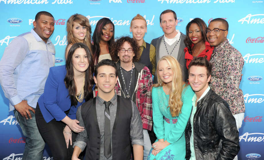 AMERICAN IDOL: (Top Row L-R) The Top Ten finalists Curtis Finch, Jr., Angie Miller, Candice Glover, Devin Velez, FOX Cheif Operating Officer Joe Earley, Amber Holcomb and Burnell Taylor, (Bottom Row L-R) Kree Harrison, Lazaro Arbos, FOX President of Alternative Programming Mike Darnell, Janelle Arthur and Paul Jolley at the season 12 AMERICAN IDOL FINALIST PARTY on Thursday, March 7 at The Grove in Los Angeles, CA.  CR: Frank Micelotta/FOX