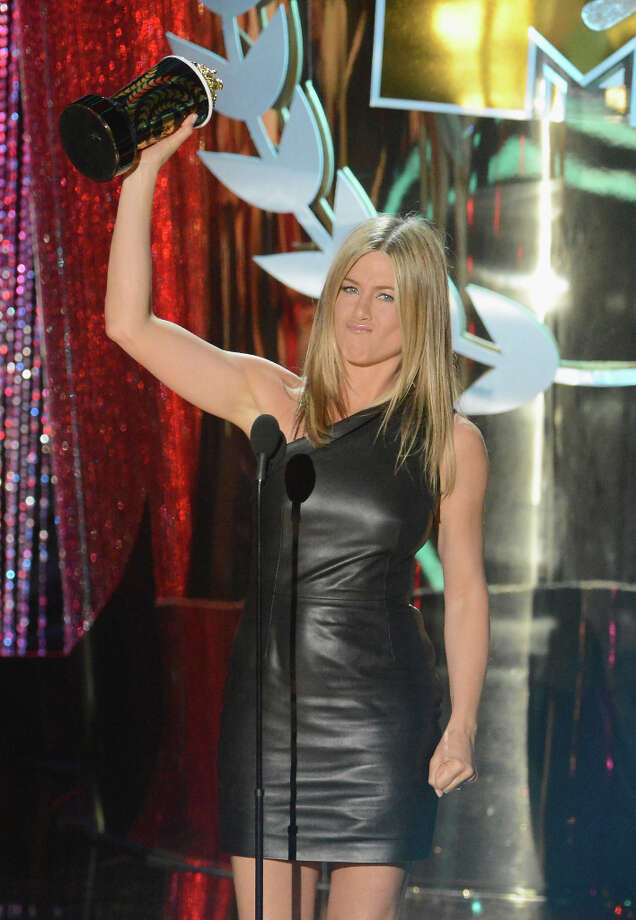 Actress Jennifer Aniston speaks onstage at the 2012 MTV Movie Awards at Gibson Amphitheatre on June 3, 2012 in Universal City, California. (suggested by jennajenna) Photo: Jeff Kravitz, FilmMagic / 2012 Jeff Kravitz