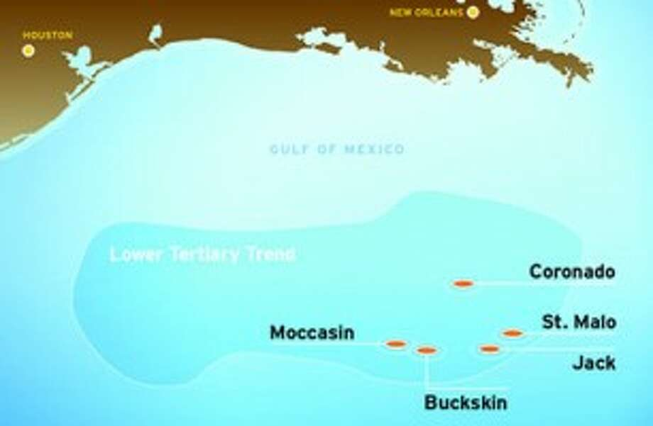 A Chevron oil discovery in the Gulf of Mexico was drilled in more than 6,000 feet of water and at a total depth of 31,866 feet. (Graphic: Chevron) Photo: Chevron