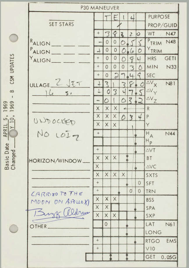 Flown Apollo 11 CSM Updates Checklist, P(Program) 30 data grid, a single sheet printed recto and verso. NASA/MSC, April 5, 1969, updated July 10, 1969. 5½ x 8 inches. Extensive notations by all three Apollo 11 crewmen. With a Typed Letter Signed by BUZZ ALDRIN.