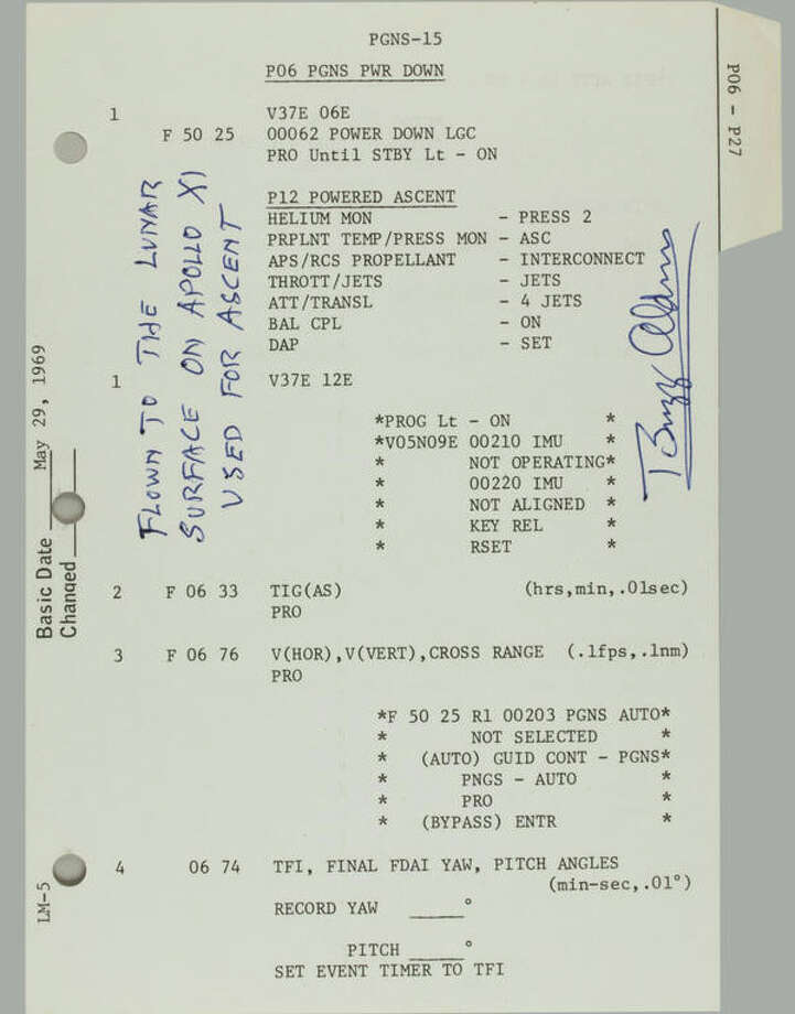 Two flown sheets from the Apollo 11 LM G & N Dictionary, 4 pp, being PGNS-15 to PGNS-18, each printed recto and verso. NASA/MSC, May 29, 1969, updated June 23, 1969. Each 8 by 5½ inches. With a Typed Letter Signed by BUZZ ALDRIN.