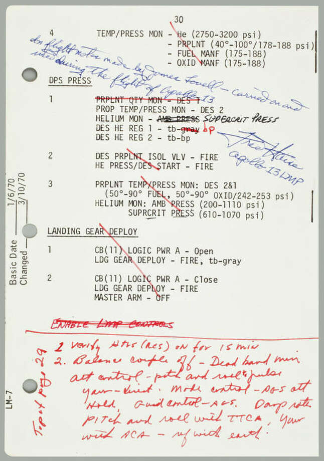 Flown on Apollo 13, LM-7 Contingency Checklist, page 30. A single sheet printed recto only. NASA/MSC January 6, 1970, updated March 10, 1970. 8 x 5½ inches. Extensive annotations made during the mission in red ink by James Lovell and in black ink by Fred Haise. With a Typed Letter Signed by FRED HAISE.