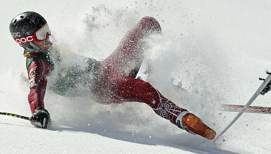 Better luck next time: Local favorite Grant Jampolsky exits the Super-G competition in dramatic fashion at the U.S. Alpine Ski Championships in Squaw Valley. Photo: Charles Krupa, Associated Press