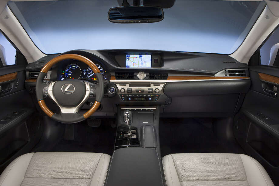 The bamboo trim on the steering wheel and dashboard sets off the ES300h.