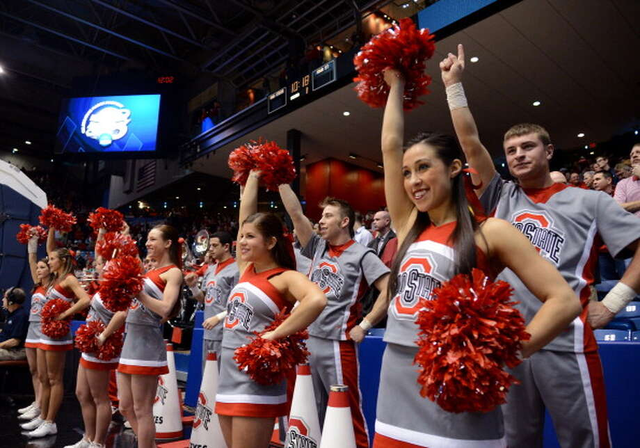 DAYTON, OH - MARCH 24: The Ohio State Buckeyes cheerleaders perform on the sideline in the first half against the Iowa State Cyclones during the third round of the 2013 NCAA Men's Basketball Tournament at UD Arena on March 24, 2013 in Dayton, Ohio. Photo: Jason Miller, Getty Images / 2013 Getty Images