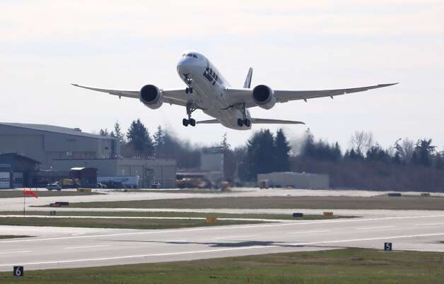 A Boieng 787 Dreamliner for LOT Polish Airlines takes off on a test flight on March 25, 2013, from Paine Field, in Everett, Wash. Photo: JOSHUA TRUJILLO, SEATTLEPI.COM STAFF