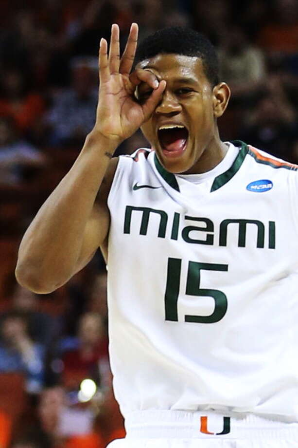 AUSTIN, TX - MARCH 24:  Rion Brown #15 of the Miami Hurricanes celebrates scoring a three pointer in the second half against the Illinois Fighting Illini during the third round of the 2013 NCAA Men's Basketball Tournament at The Frank Erwin Center on March 24, 2013 in Austin, Texas. Photo: Ronald Martinez, Getty Images / 2013 Getty Images