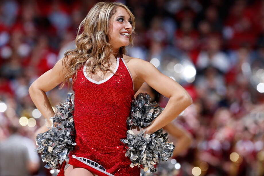 DAYTON, OH - MARCH 24: A Temple Owls cheerleader performs during a game stoppage in the first half against the Indiana Hoosiers during the third round of the 2013 NCAA Men's Basketball Tournament at UD Arena on March 24, 2013 in Dayton, Ohio. Photo: Joe Robbins, Getty Images / 2013 Getty Images