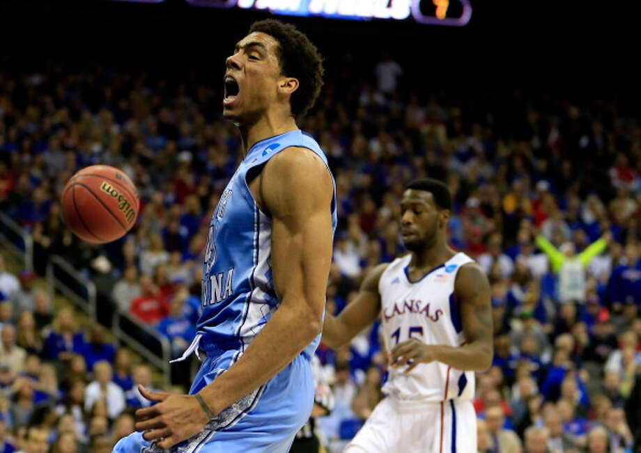 KANSAS CITY, MO - MARCH 24:  James Michael McAdoo #43 of the North Carolina Tar Heels reacts in the first half against the Kansas Jayhawks during the third round of the 2013 NCAA Men's Basketball Tournament at Sprint Center on March 24, 2013 in Kansas City, Missouri. Photo: Jamie Squire, Getty Images / 2013 Getty Images