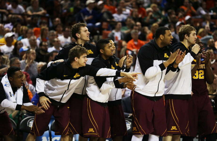 AUSTIN, TX - MARCH 24:  The Minnesota Golden Gophers bench reacts in the second half against the Florida Gators during the third round of the 2013 NCAA Men's Basketball Tournament at The Frank Erwin Center on March 24, 2013 in Austin, Texas. Photo: Ronald Martinez, Getty Images / 2013 Getty Images