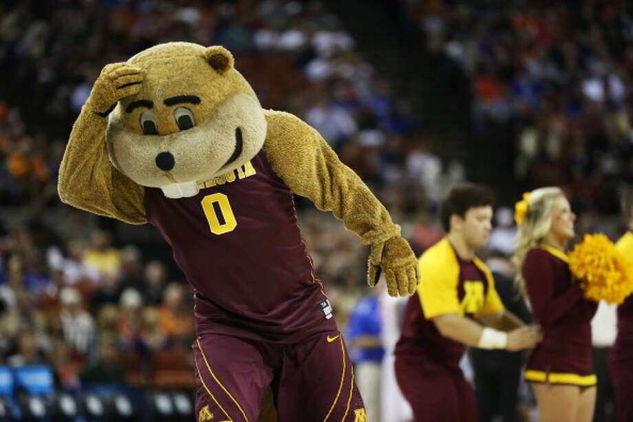 AUSTIN, TX - MARCH 24:  The Minnesota Golden Gophers mascot reacts in the second half against the Florida Gators during the third round of the 2013 NCAA Men's Basketball Tournament at The Frank Erwin Center on March 24, 2013 in Austin, Texas. Photo: Ronald Martinez, Getty Images / 2013 Getty Images