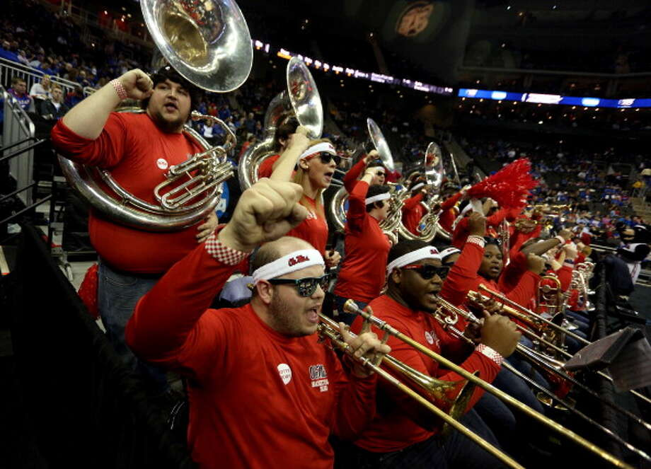 KANSAS CITY, MO - MARCH 24:  Band members for the Mississippi Rebels support their school against the La Salle Explorers during the third round of the 2013 NCAA Men's Basketball Tournament at Sprint Center on March 24, 2013 in Kansas City, Missouri. Photo: Ed Zurga, Getty Images / 2013 Getty Images