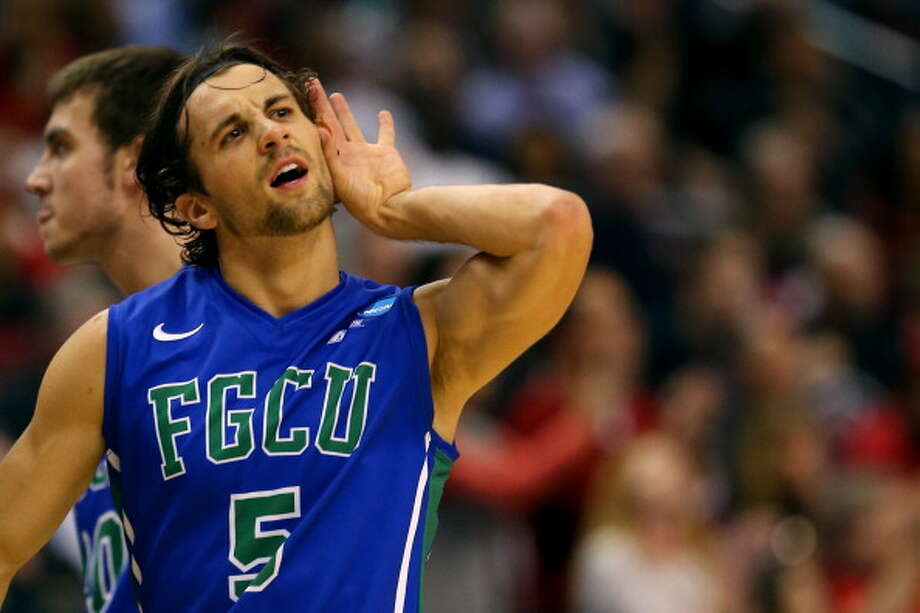 PHILADELPHIA, PA - MARCH 24:  Christophe Varidel #5 of the Florida Gulf Coast Eagles reacts in the second half while taking on the San Diego State Aztecs during the third round of the 2013 NCAA Men's Basketball Tournament at Wells Fargo Center on March 24, 2013 in Philadelphia, Pennsylvania. Photo: Elsa, Getty Images / 2013 Getty Images