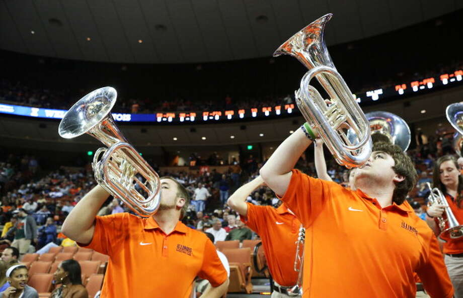 AUSTIN, TX - MARCH 24:  The Illinois Fighting Illini band performs in the first half against the Miami Hurricanes during the third round of the 2013 NCAA Men's Basketball Tournament at The Frank Erwin Center on March 24, 2013 in Austin, Texas. Photo: Stephen Dunn, Getty Images / 2013 Getty Images