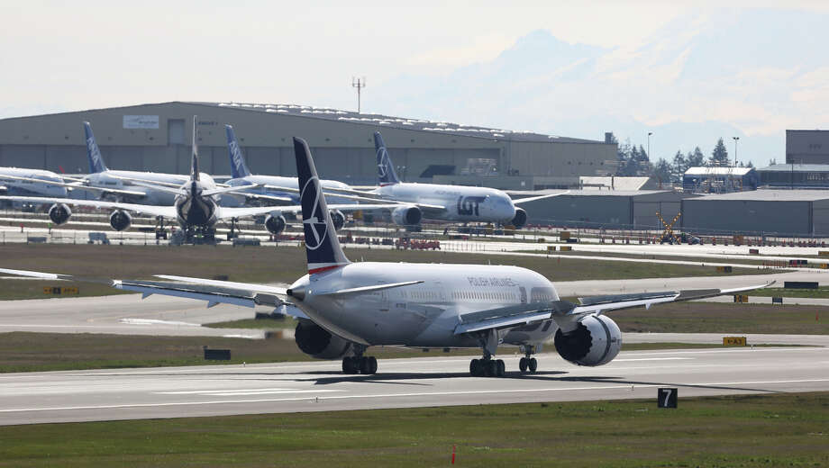 A Boeing 787 taxis on Monday, March 25, 2013 at Paine Field in Everett. This was the first test flight of a 787 since the fleet was grounded because the danger of a fire with the lithium-Ion battery in the plane. Photo: JOSHUA TRUJILLO / SEATTLEPI.COM
