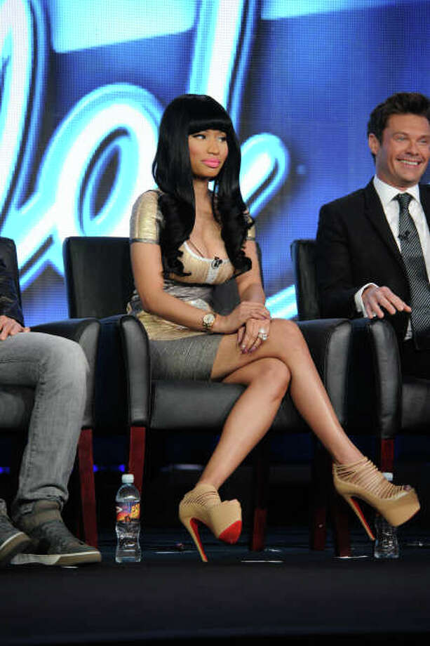 2013 FOX WINTER TCA: AMERICAN IDOL SEASON 11:  Nicki Minaj (judge) and Ryan Seacrest (host) answerquestions from television critics during the 2013 FOX WINTER TCA at the Langham Hotel, Tuesday, Jan. 8 in Pasadena CA.  CR: Frank Micelotta/FOX