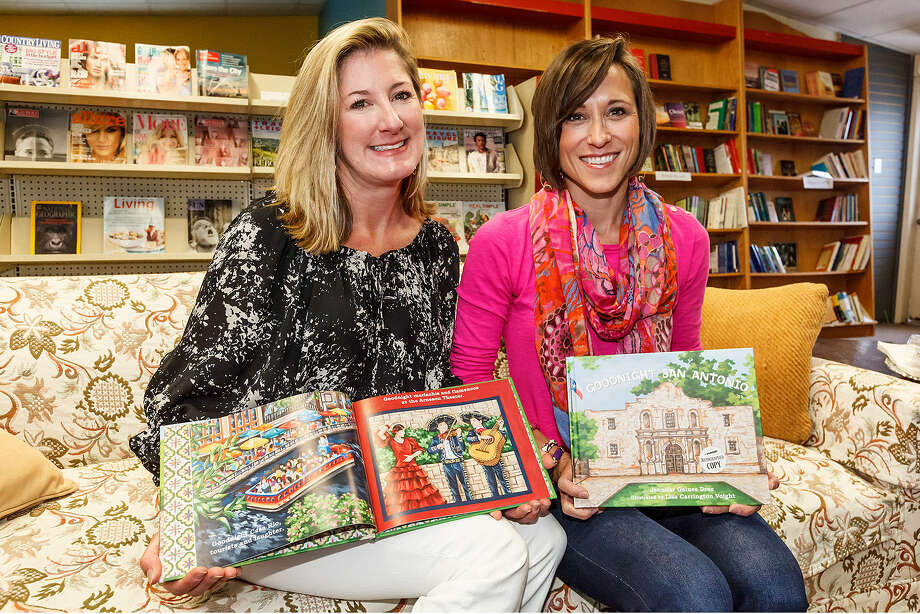 "Author Jennifer Gaines Drez (left) and illustrator Lisa Carrington Voight show copies of their new children's book, ""Goodnight San Antonio."" Photo: Marvin Pfeiffer / For The Express-News"