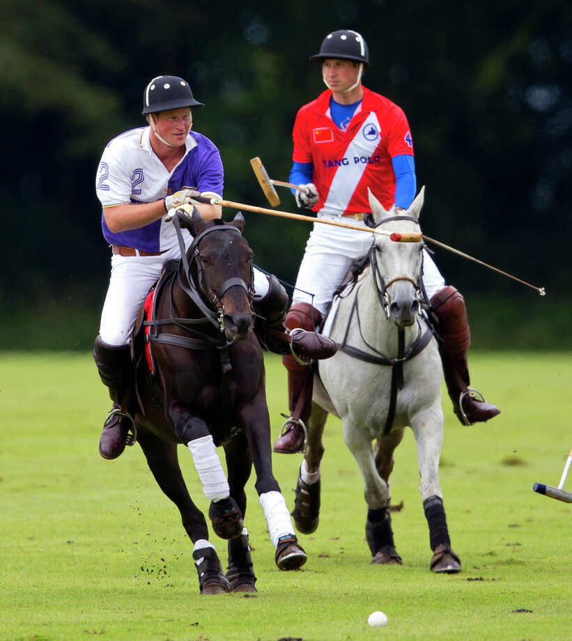 Prince Harry and Prince play in the Jerudong Trophy charity polo match at Cirencester Park Polo Club on August 5, 2012 in Cirencester, England. BritainâÄôs Prince Harry,the youngest son of Prince Charles and the late Princess Diana is scheduled to compete in a polo match in Greenwich, Conn. in May. The event  will benefit Sentebale, a charity he co-founded to help impoverished children in the African nation of Lesotho. Photo: Indigo, Photo By Indigo/Getty Images / 2012 Indigo Photo by Indigo/Getty Images