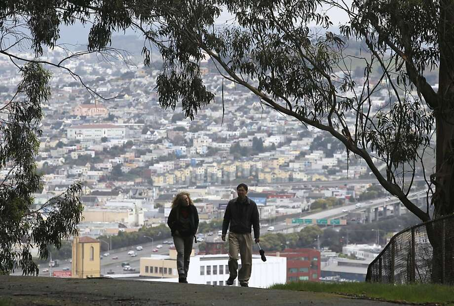 Joan Mankin and Fred Wong reach the top of the trail at Bayview Hill open space in San Francisco. Photo: Paul Chinn, The Chronicle