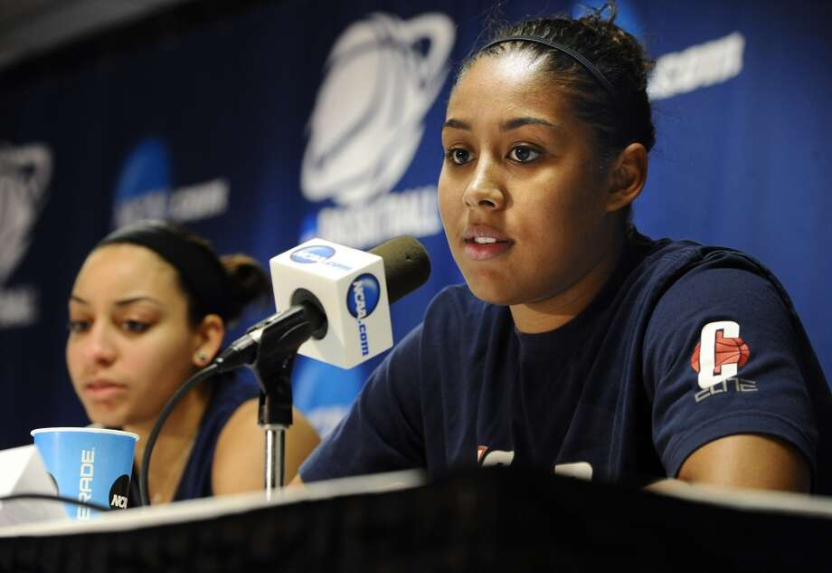 Connecticut's Kaleena Mosqueda-Lewis answers questions during a news conference before practice for a second-round game in the women's NCAA college basketball tournament in Storrs, Conn., Sunday, March 24, 2013. Connecticut is to play Vanderbilt on Monday. (AP Photo/Jessica Hill)