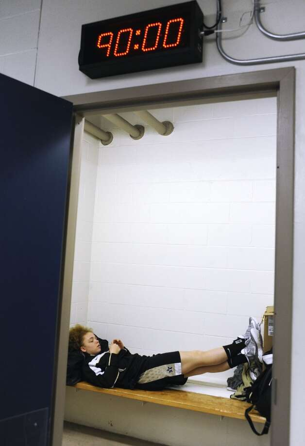 Vanderbilt's Jasmine Jenkins relaxes in the team locker room before practice for a second-round game in the women's NCAA college basketball tournament in in Storrs, Conn., Sunday, March 24, 2013. Vanderbilt will play Connecticut on Monday. (AP Photo/Jessica Hill)