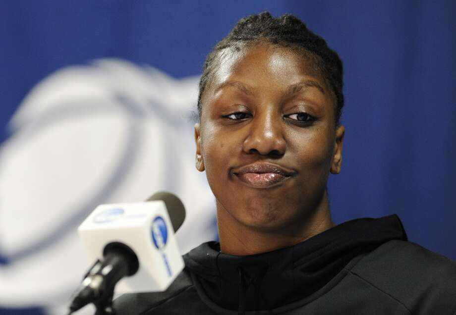 Vanderbilt's Tiffany Clarke answers questions during a news conference before practice for a second-round game in the women's NCAA college basketball tournament in in Storrs, Conn., Sunday, March 24, 2013. Vanderbilt will play Connecticut on Monday. (AP Photo/Jessica Hill)