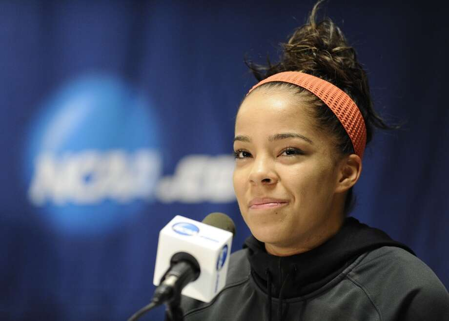 Vanderbilt's Jasmine Lister answers questions during a news conference before practice for a second-round game in the women's NCAA college basketball tournament in in Storrs, Conn., Sunday, March 24, 2013. Vanderbilt will play Connecticut on Monday. (AP Photo/Jessica Hill)