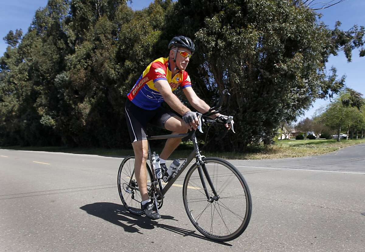 Dave Dye heads out for his daily 20-mile bike ride in French Camp, Calif. on Saturday, March 23, 2013.