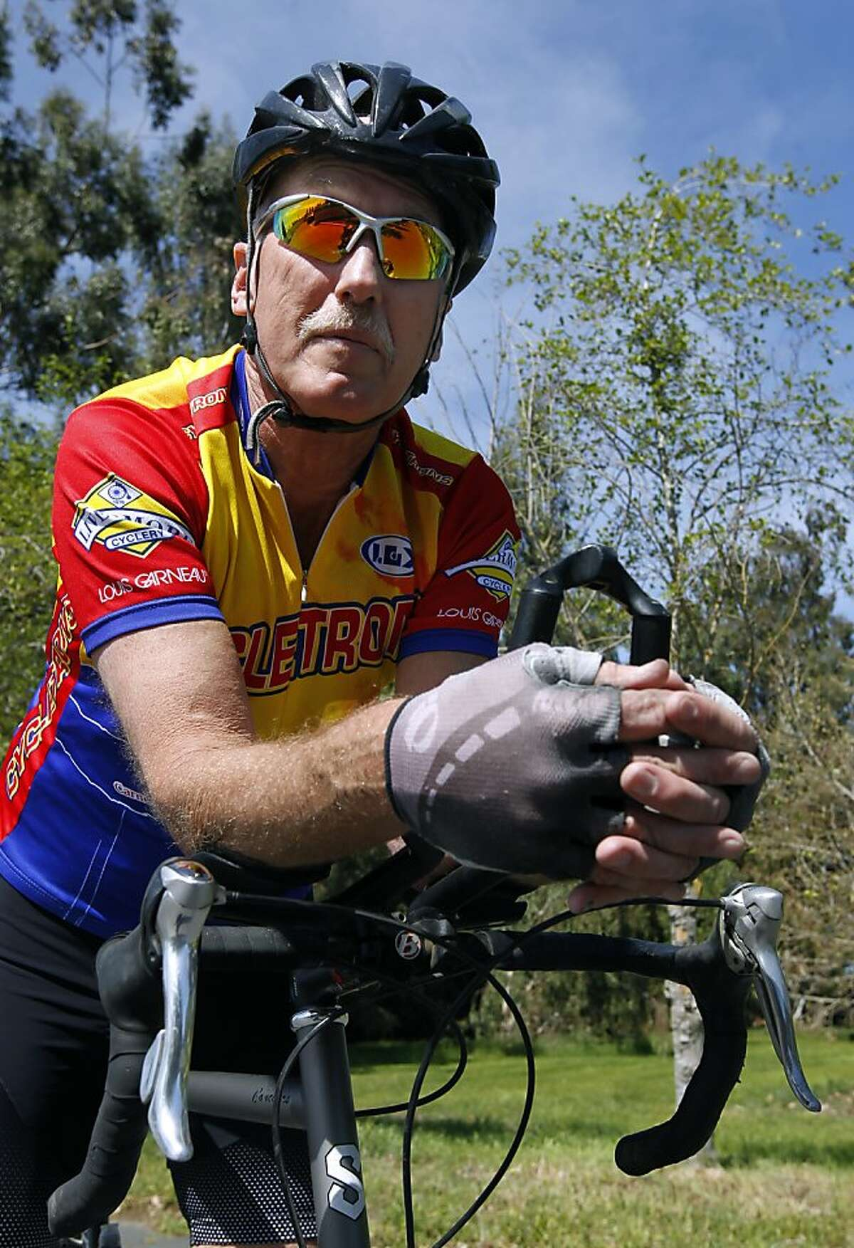 Dave Dye prepares to depart on his daily 20-mile bike ride in French Camp, Calif. on Saturday, March 23, 2013.
