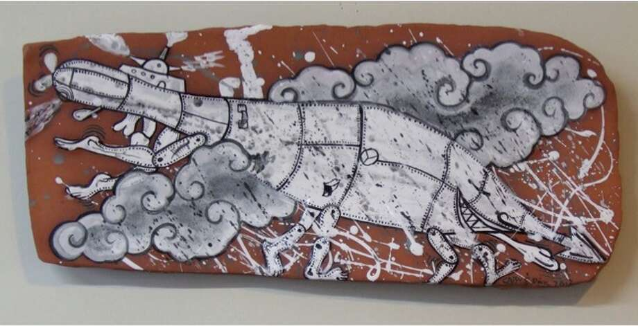 Cappy Thompson, Dangerous Storm, 2012, black and white underglaze on terra cotta, 10x24x2