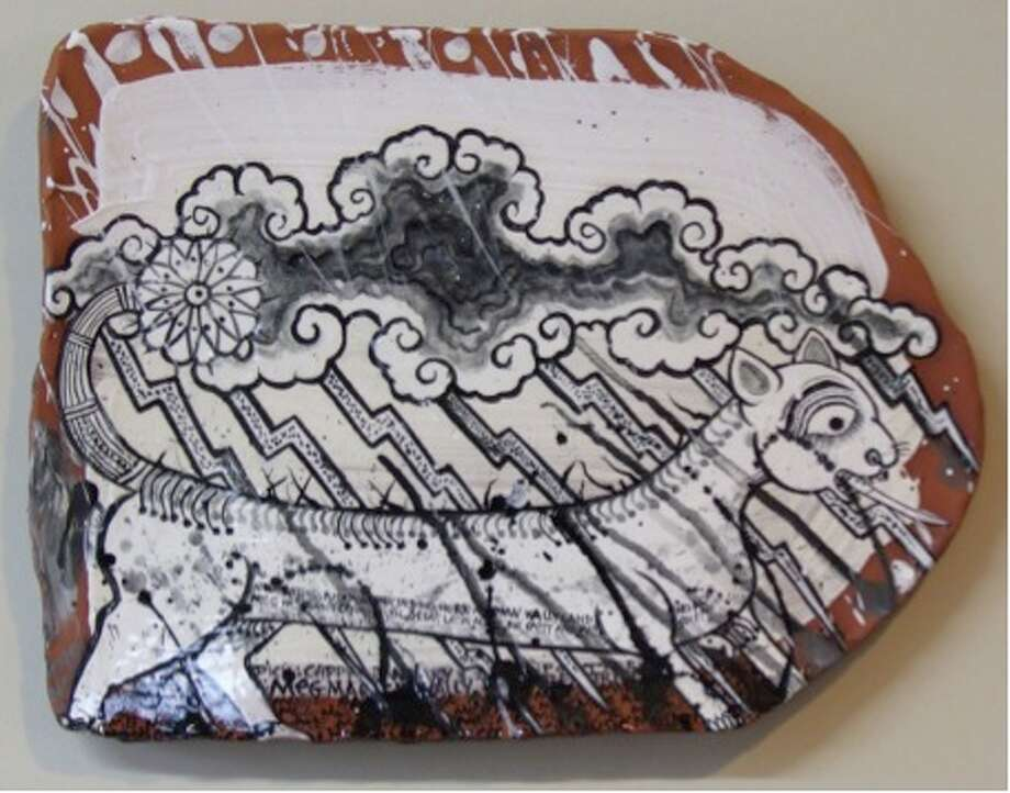 Cappy Thompson, Lightening Tiger, 2012, black and white underglaze on terra cotta, 16x19x3