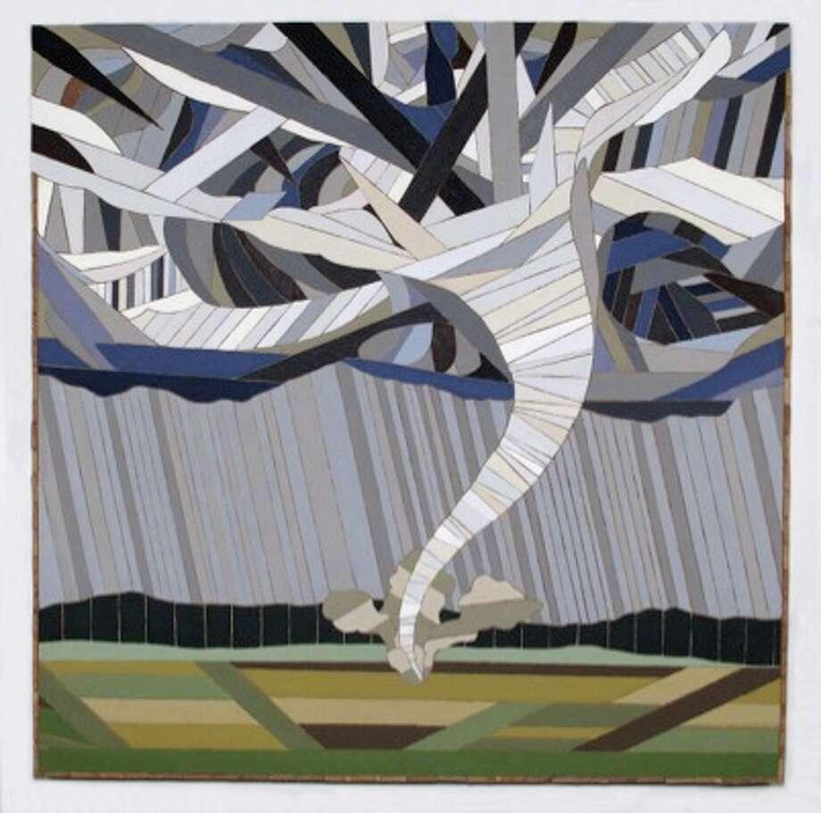 Julia Haack, Big Wind_2013, latex paint on salvaged wood, 42x42