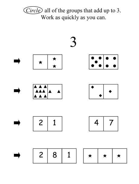 "This image provided by the University of Missouri shows an illustration part of a University of Missouri study that examined first-graders' ""number system knowledge."" That's how well they understand such things as that numbers represent quantities. Youngsters who didn't have a good grasp of these concepts went on have lower scores on a key math skills test years later when they were in seventh grade. We know a lot about how babies learn to talk, and youngsters learn to read. Now scientists are unraveling the earliest building blocks of math _ and what children know about numbers as they begin first grade seems to play a big role in how well they do everyday calculations later on. (AP Photo/University of Missouri) Photo: HO / University of Missouri"