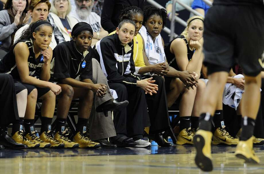 Vanderbilt watches the final seconds of the second half of a second-round game against Connecticut in the women's NCAA college basketball tournament in Storrs, Conn., Monday, March 25, 2013. Connecticut won 77-44. (AP Photo/Jessica Hill)