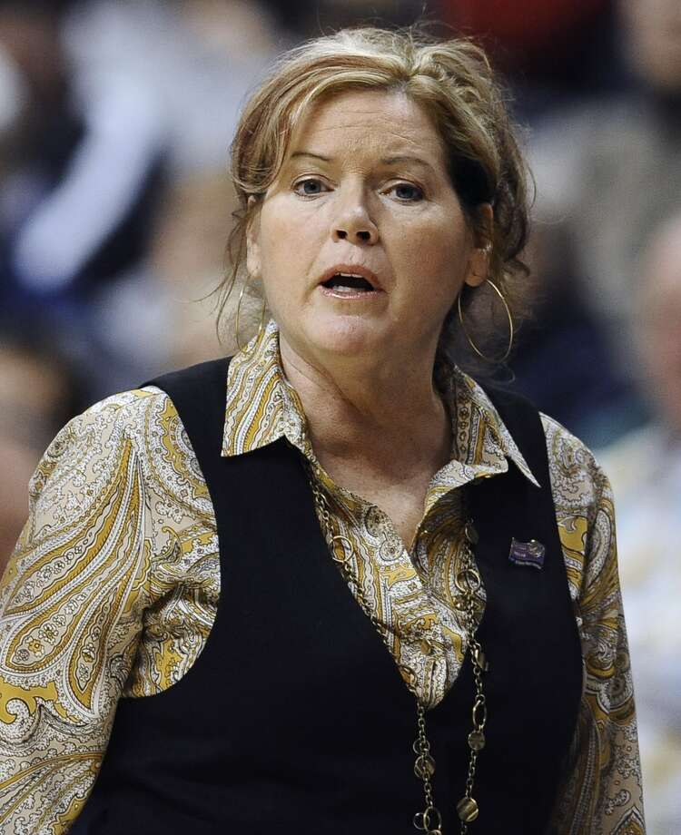 Vanderbilt head coach Melanie Balcomb watches the first half of a second-round game against Connecticut in the women's NCAA college basketball tournament in Storrs, Conn., Monday, March 25, 2013. Connecticut won 77-44. (AP Photo/Jessica Hill)